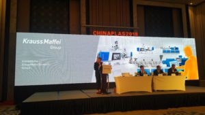 Kraus Maffei press conference at Adsale CHINAPLAS 2018