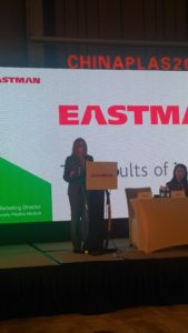 Tammy Trivette is kicking off the Eastman Chemical Company press conference at Adsale CHINAPLAS 2018 media day in Shanghai