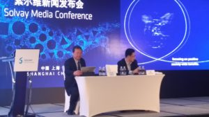 Luke C. Du Asia director of Solvay held his speech during the press conference at Adsale CHINAPLAS 2018 media day