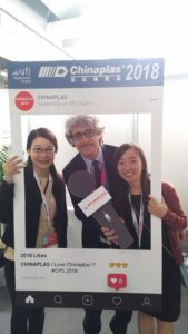Marco Mastrosanti (publisher of Tecnoplast) with Stella and Mandy by Adsale CHINAPLAS organisation