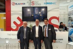 Fakuma2018 Plastic System was celebrating during Fakuma 2018 a brand new acquisition with Ergomec. In the pic from right Gianfranco Cattapan, Pierangelo Zampieriand, Franco Crivellari